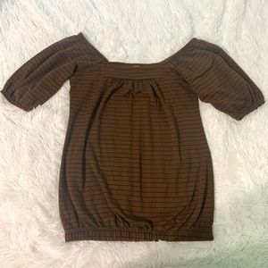 Lily White off the shoulder brown/black stripe top